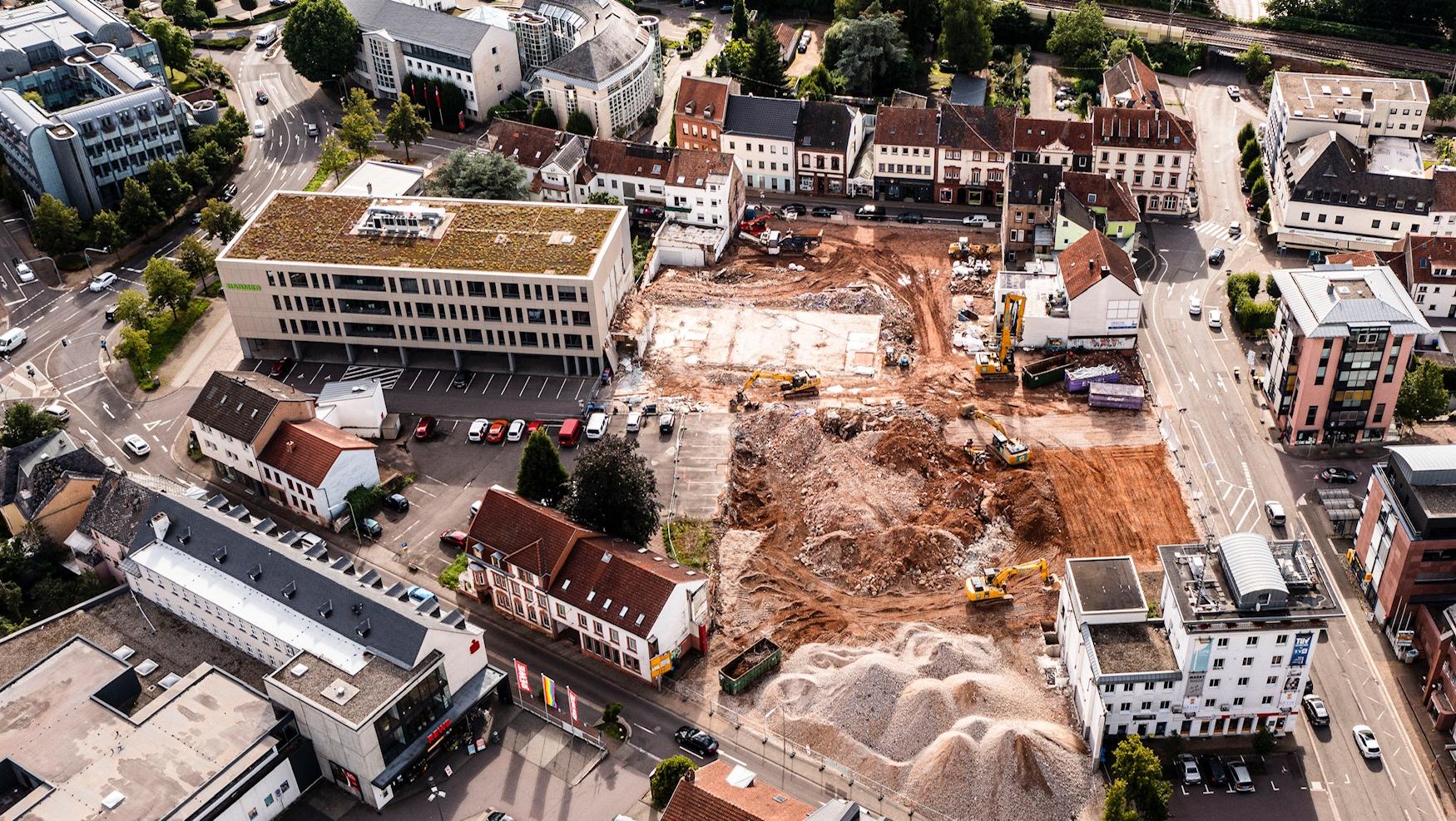 Luftaufnahme zum Baufortschitt Neue Mitte Merzig